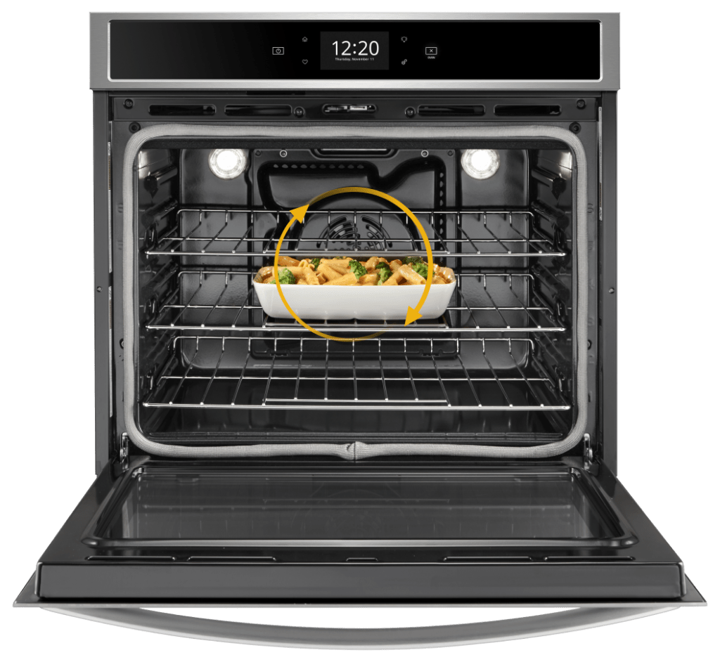 Convection oven with fan for even distribution of heat.