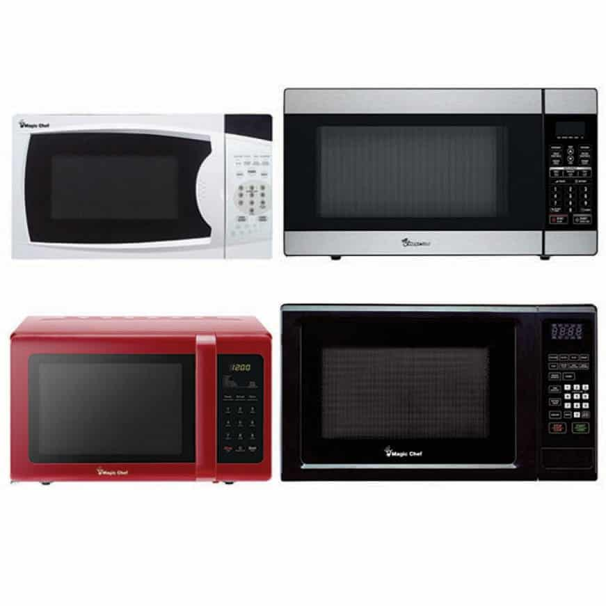 Microwave ovens in different designs and colors.