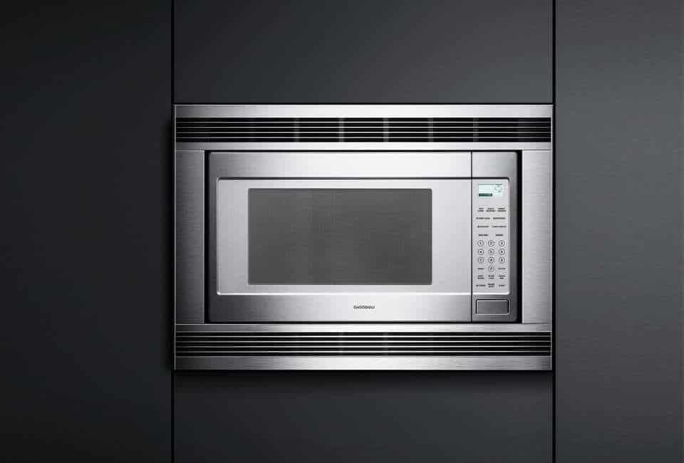 A sleek microwave with built-in placement.