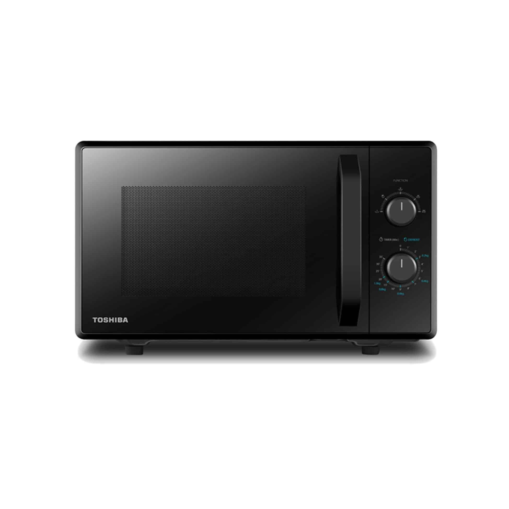 An all-black 21L Toshiba Microwave.